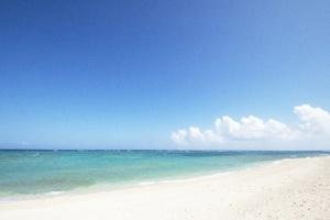 青く晴れた空と海